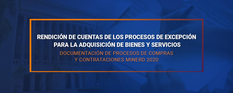 Documentación de procesos de compras y contrataciones MINERD  2020