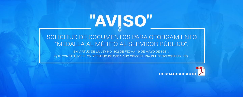 """Solicitud de documentos para otorgamiento """"medalla al mérito al servidor público"""""""
