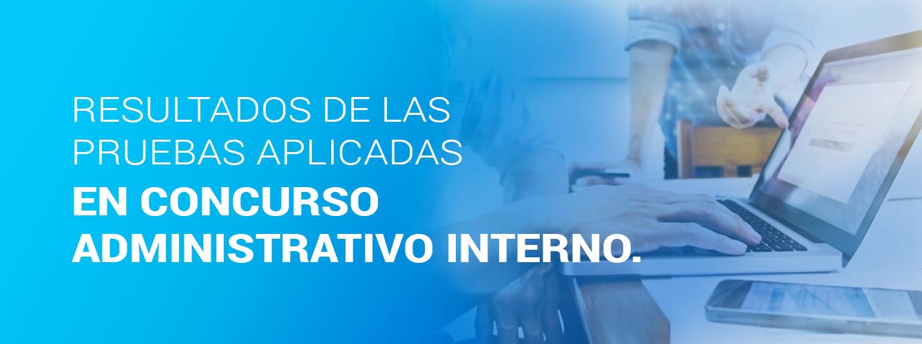 Resultados de las pruebas aplicadas en Concurso Administrativo Interno.
