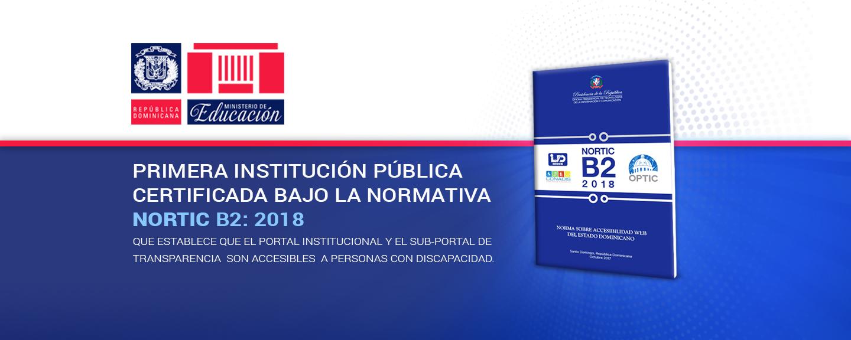 Ministerio de Educación es la primera institución pública certificada bajo la normativa NORTIC B2:2018, que establece que su portal institucional es accesible a personas con discapacidad.