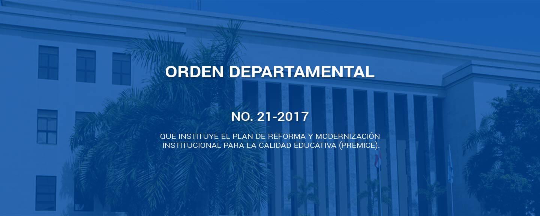 Orden departamental 21-2017 Del ministerio de educación